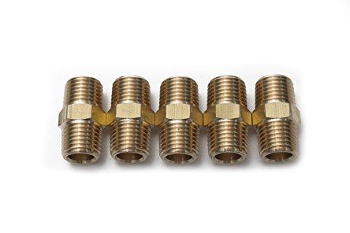 Generic Brass Pipe Hex Nipple Fitting 1/4