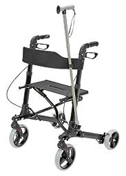 HealthSmart Euro Style Rollator Walker, Compact Folding Walker, Lightweight Aluminum Walker, Black