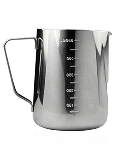 iecool Thick Stainless Steel Metal Sharp Beak Measuring Cup Milk Foam Pot Silver ()