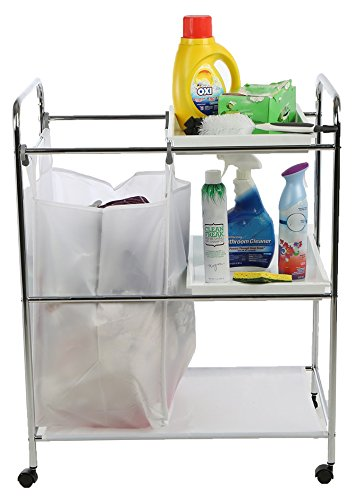 Mind Reader LDYCART-SIL Laundry Sorter Cart, Multi-Purpose Accessory Cart, Silver