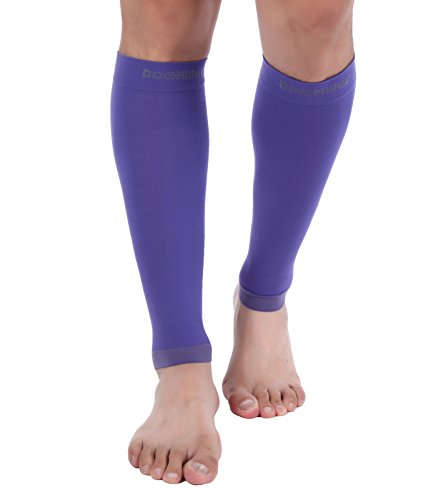 Doc Miller Premium Calf Compression Sleeve 1 Pair 20-30mmHg Strong Calf Support Graduated Pressure for Sports Running Muscle Recovery Shin Splints Varicose Veins (Violet, 2-Pack, Small)