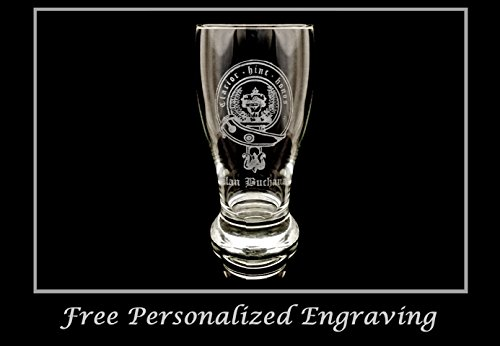 Beer Scottish (Clan Buchanan Scottish Crest Pint Glass- Free Personalized Engraving, Family Crest, Pub Glass, Beer Glass, Custom Beer Glass)