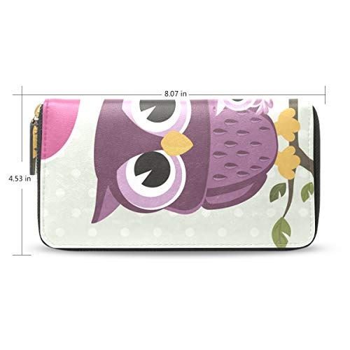 Women Wallet Purse Owls Couple With Baby Sit On Branch Clutch Bag Zipper Leather by XiangHeFu
