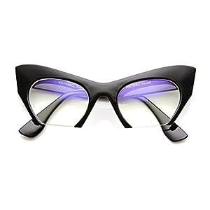 Cateye or High Pointed Eyeglasses or Sunglasses Vintage Inspired Fashion (Fashion Cut Away Black)