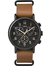 Timex TW2P97500GP Unisex Adult's Weekender Quartz Wrist Watch, Black Dial with Brown Leather Strap