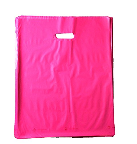 - 100 12x15 Durable Pink Merchandise bags Die Cut Handle-Glossy finish-Anti-Strech-100% Recyclable. For Retail Shopping bags, Party favors, Handouts and more by Best Choice (Pink)