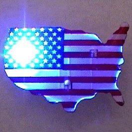 blinkee USA Shape Flag Flashing Body Light Lapel Pins by