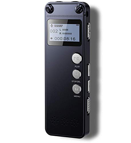 Tschisen Digital Voice Recorder,Metal Body,1536kbps HD Audio Dectaphone with Playback,Noise Reduction,Auto Activation,MP3,Rechargeable Battery for Meetings/Lectures/Interviews/Classes