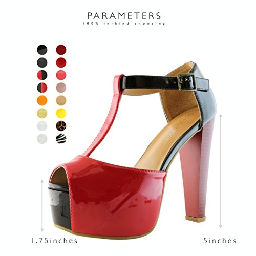 DailyShoes Women's Peep Toe Platform Sandal Pumps Open Toe Ankle Buckle T-Strap Extreme Evening Party Dress Casual Shoes, Red Black PT, 10 B(M) US by DailyShoes (Image #4)