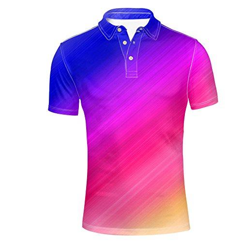 HUGS IDEA Fashion Mens Golf Polos Shirt Bright Color Short Sleeve