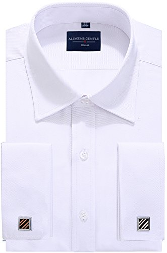 Alimens & Gentle Big & Tall Solid Color Regular Fit French Cuff Dress Shirts (Cufflink Included) Big And Tall French Cuff Dress Shirts