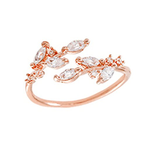 Sterling Silver Plated & 18K Gold plated Cubic Zirconia tree branch leaves joint Band Ring,adjustable (RoseGold)