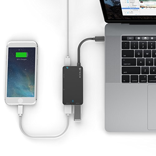 ATECH USB-C to USB 3.0 Hub with Power Delivery, with MicroSD/SD Card Reader for New MacBook, MacBook Pro, ChromeBook Pixel, and USB Type C Devices (Black) by ATECH INNOVATION (Image #2)