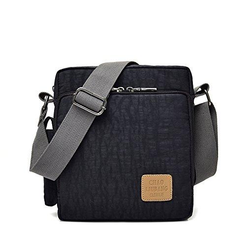 Outreo Borsa Tracolla Vintage Borsello Donne Borse a Spalla Uomo Sport Sacchetto Viaggio Studenti Borsetta per Tablet Messenger Bag Nero