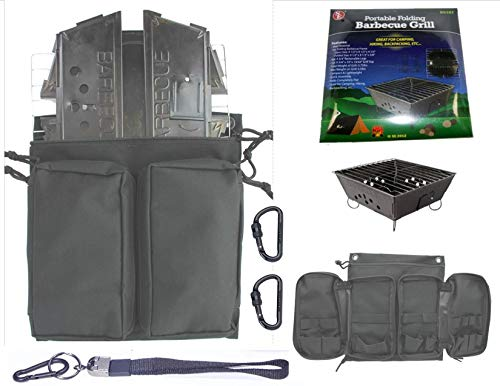 Portable Folding Barbecue Grill Stove Bag & SE BG107 Stove Bar-B-Que Grill Kits | Molle Straps | Carabiner Hooks | Backpacking | Hiking |Tail Gate Cooking (Deluxe Bag & Stove) (Se Grill Portable)