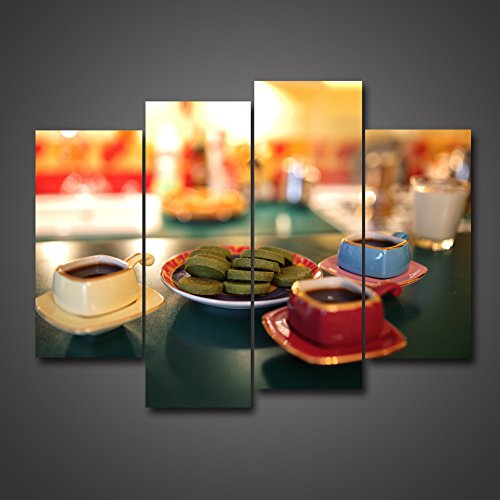 4 Panel Afternoon Tea Time Coffee And Dessert On The Table Still Life Leisure Lifestyle Picture On Canvas Giclee HD Painting Gallery Wall Prints Framed Artwork For Home Office Kitchen by uLinked Art