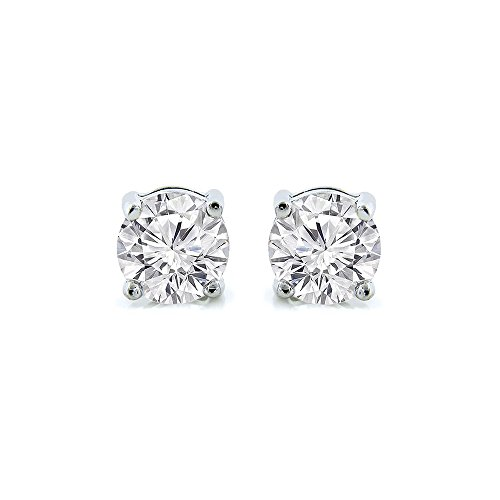 Cate & Chloe 2Ct. Beyonce Gemstone Silver Stud Earrings, Large Round Brilliant Crystal Silver Studs Earring Sets for Women, Womens Rhinestone Fashion Statement Jewelry