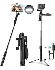 "Selfie stick statief, 4-IN-1 selfie stick 360° draaibaar met video balans handvat + bleutooth afstandsbediening + LED lampje Voor camera's/mobiele telefoons tot 6,8"" iPhone 12/11 Pro Max Huawei P30 Samsung S10 S20"