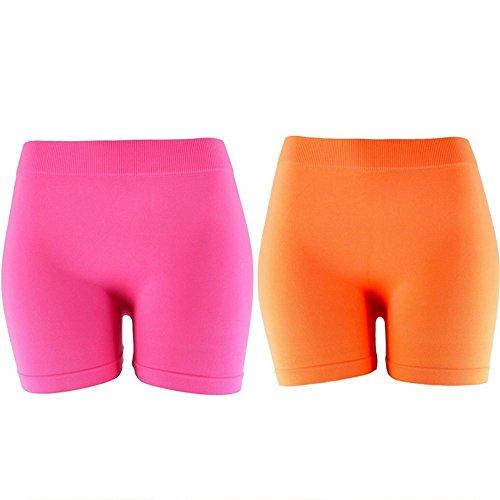 Basic Solid Biker Short Spandex Yoga Leggings (12 inch, Neon Pink & Neon - And Pink Neon Orange