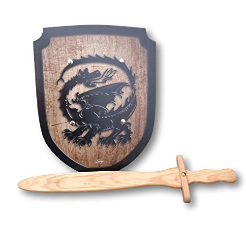 [Wooden Sword and Dragon Shield Set] (Womens Three Musketeers Costumes)