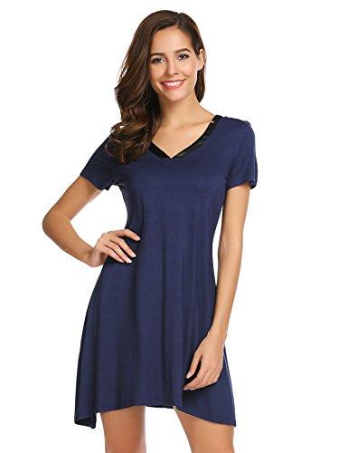 Elaver Women's Satin V Neck Sleepshirt Sexy Cotton Nightgown, Navy, ()