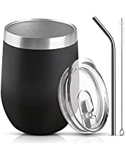 OYISIYI Wine Tumbler with Lip and Straw,Vacuum Insulated Stemless Wine Tumbler Stainless Steel Wine Glasses,Coffee,Beer,Cocktails Drinks Wine Tumbler Gift Set for Men and Women