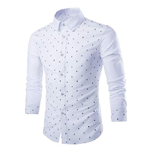 (NestYu Mens Patched Skull Button-Up Hit Color Polka Dot Western Shirt White S)