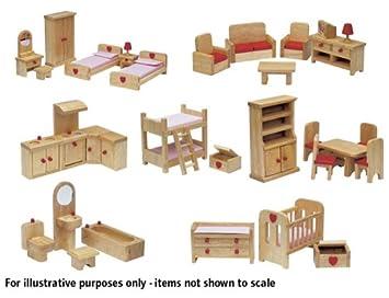 Dolls House Emporium Full Set Of Wood Finish Junior Collection Furniture