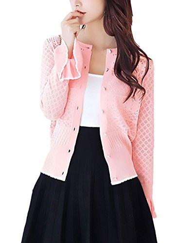 Con Pink Vintage Protezione Cardigan Maglia A Manica Lunga Giacca Monocromo Estivi Cavo Moda Rotondo Collo Volant Solare Sottile Cappotto Donna Casual Outerwear Giaccone Eleganti Single SMUVpz