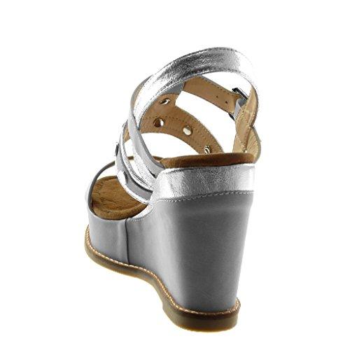 10 Talon Brillant Cm Mode 5 Bi Clouté Femme Cheville Plateforme Sandale Gris matière Chaussure Compensé Lanière Mule Angkorly gPq676