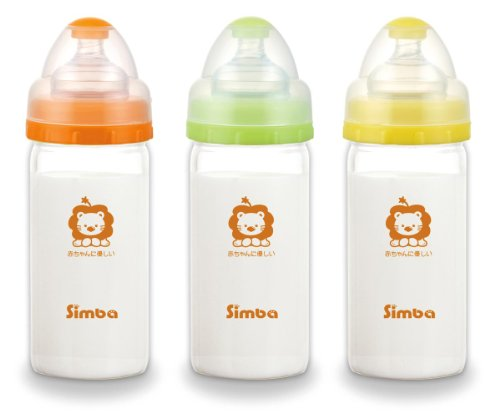 Simba Diamond Light Wide Neck Borosilicate Glass Single Feeding Bottle with Stage 1 Nipple, Beige, 6 Oz