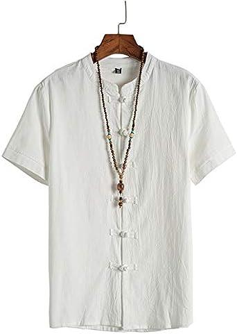 CAOQAO Camisas Hombre Manga Corta Hawaiana Camisa Moda Algodón ...