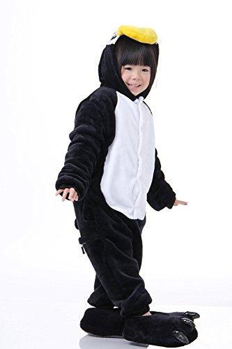 ABING Halloween Pajamas Homewear OnePiece Onesie Cosplay Costumes Kigurumi Animal Outfit Loungewear,Black Penguins Chidren Size 125 -for (2)