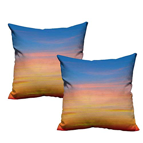 (Sky Square Throw Pillow Covers Colorful Sunset Pattern Atmosphere Dramatic Majestic Scenic Skyline Photo Inspirational Super Soft and Luxury, Hidden Zipper Design 20