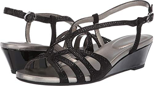 Bandolino Womens Gyala Wedge Sandal Black 10 M