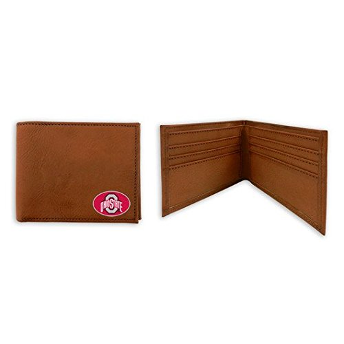 Ohio State Buckeyes Classic Brown Leather Football Wallet - State Brown Leather