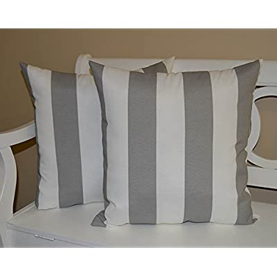 Resort Spa Home Decor Indoor/Outdoor Square Decorative Throw/Toss s, Gray/Grey and White Stripe, Set of 2: Home & Kitchen
