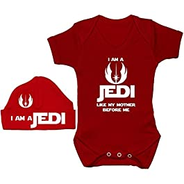 Acce Products I Am a Jedi Like My Mother Before Me Baby Grow/Bodysuit/Romper/T-Shirt & Beanie Hat/Cap 0 to 12 Months