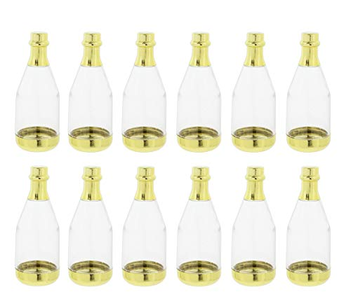 Fashioncraft Mini Gold Plastic Champagne Bottles for Wedding/Party Favors - Set of 12