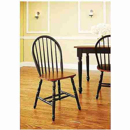 Better Homes and Gardens Autumn Lane Windsor Chairs, Set of 2, Black and Oak by Better Homes and Garden (Image #2)