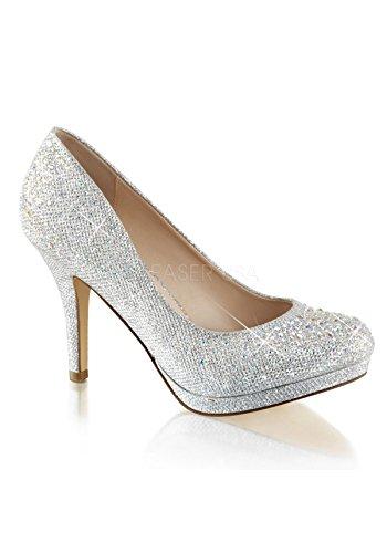 - Pleaser Women's Covet02/sgfa Slide Pump, SLV Glitter Mesh Fabric, 10 M US