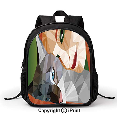 Women's Anti Theft School Bag Geometric Mosaic Little Cute Cat and Owner Women Smiling Sleeping Couple Image Backpack :Suitable for Men and Women,School,Travel,Daily use,etc,Multicolor]()