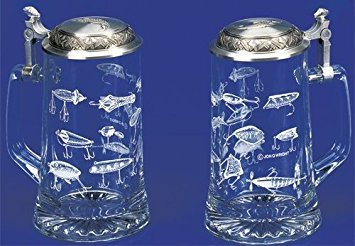 Fishing Lures, German Glass Beer Stein w/ an Authentic Antique & Modern Fishing Lures, Leaping Fish Embossed Pewter Lid, Made in Germany, Jon Q Wright Design  ()