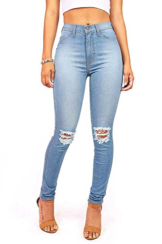 Vibrant Women's Juniors High Waist Faded Skinny Jeans (13, Light Denim)