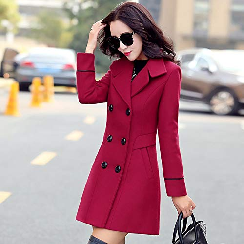 POTO Women Coats Ladies Double Breasted Pea Coat Elegant Winter Lapel Wool Coat Trench Jacket Overcoat Outwear