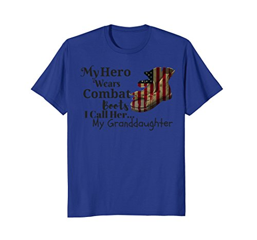 Mens My Hero Wears Combat Boots I Call Her My Granddaughter Tee 3XL Royal (Wears Combat Boots)