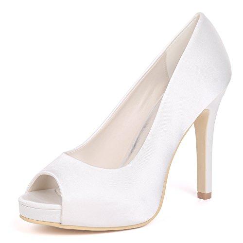 Las Peep 02a Zapatos Chunky Plataforma Boda 6041 De Tacones Del Punta Eleoulck Satinada Altos White Stiletto Toe Mujeres Pie wAxBHnq