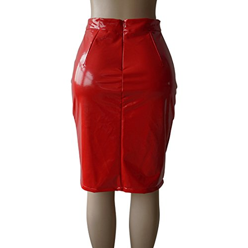 Simple-Fashion Et Femme Fashion Slim Couleur Unie Cuir Crayon Jupes de Party Cocktail Soire Sexy Package Hanche Genoux Jupe Rouge