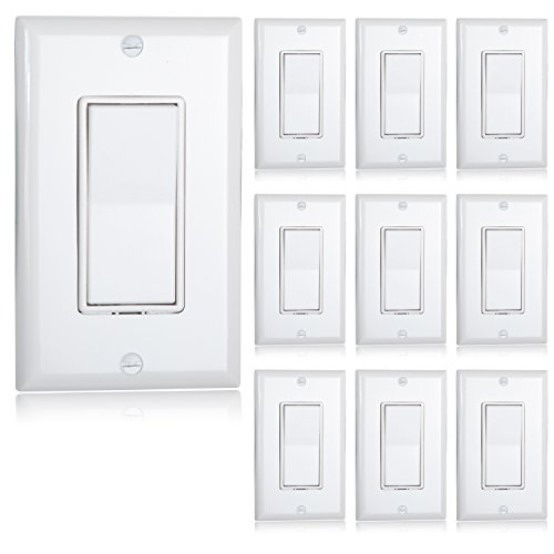 Maxxima Single Pole Decorative Wall Switch 15A On/Off White, Rocker Light Switch Wall Plates Included (Pack of 10)