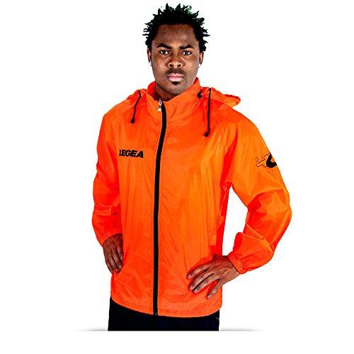 Legea Herren Regenjacke Tuono Cairo mit Kapuze K-Way Rain Jacket Wasserdicht Running Fußball Laufen Training Sport Orange (L)